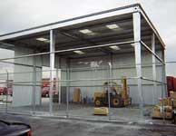 A canopy being prepared to house equipment and frequently-accessed supplies.