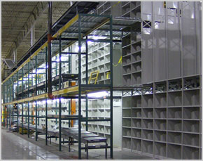 Pacific floor plus 2-level bin units with conveyors